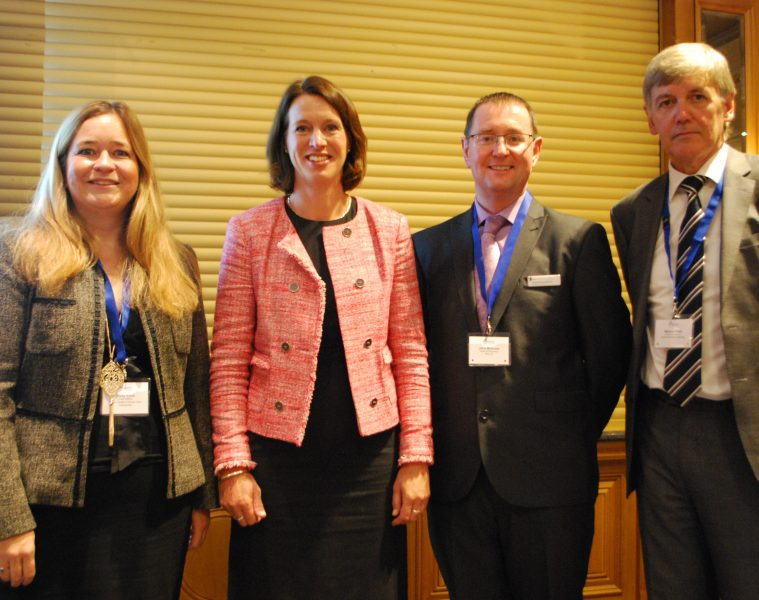 (Left to Right): Vicky Irons, Chief Officer, Angus Health and Social Care Partnership; Dr                 Catherine Calderwood, Chief Medical Officer for Scotland, the Scottish Government;                   Dr John McAnaw, Chairman, Scottish Pharmacy Board, RPS; Michael Pratt, Director                    of Pharmacy, NHS Dumfries and Galloway (Conference Chair)